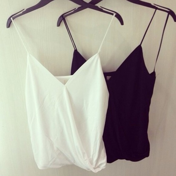 chiffon blouse white black blouse tank top black tanktop white tank top black white