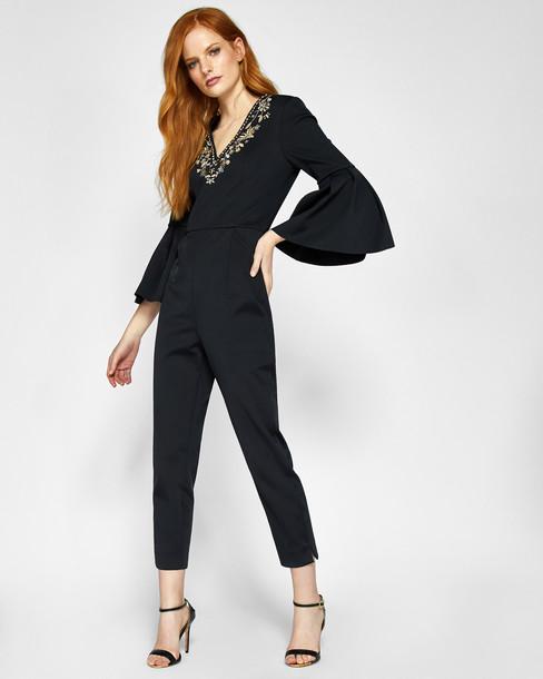 Ted Baker jumpsuit embellished bee black
