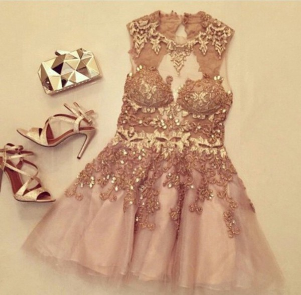 904df09644 Charming champagne Lace Short Prom Dresses