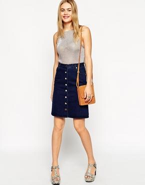 Polly Denim A-line Button Through Midi Skirt in Indigo at asos.com