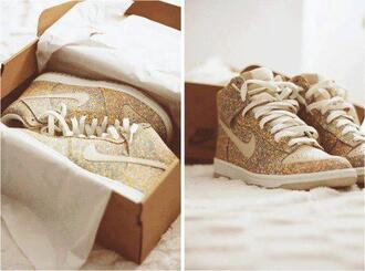 shoes nike sneakers nike sparkle glitter shoes gold high top sneakers gold sparked nike