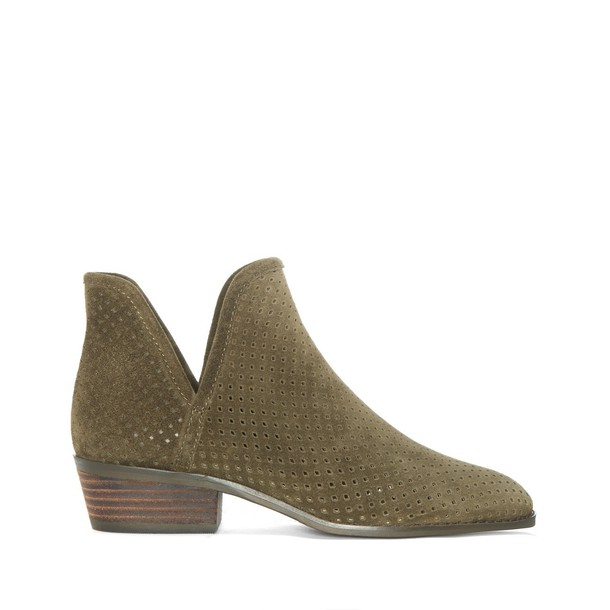 Lucky Brand Kambry Perforated Bootie - Dark Olive-6.5