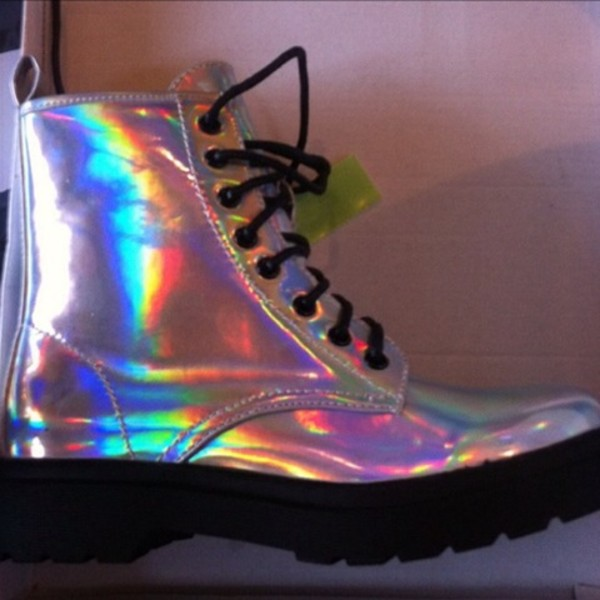 shoes DrMartens holographic boots acid wash tally weijl punk pale grunge holographic shoes