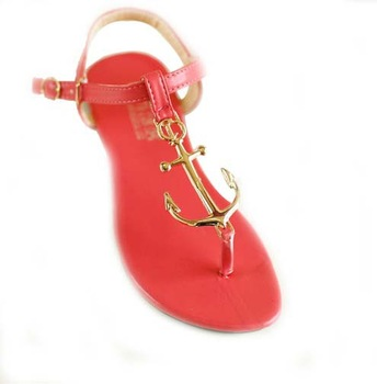 Free Shipping, 2013 Fashion Pirates Anchor T Belt Clip Toe Comfortable Flat Rubber Soles Flat Sandals-in Sandals from Shoes on Aliexpress.com