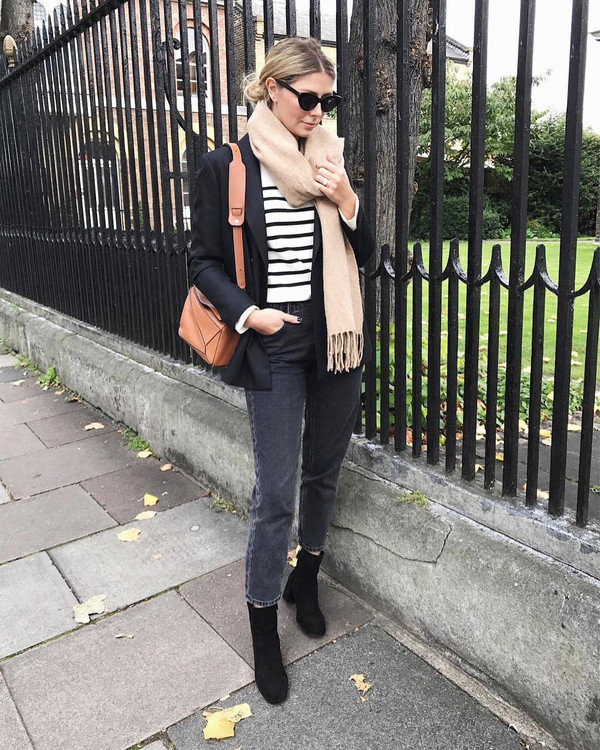 jacket tumblr blazer black blazer top stripes striped top scarf fall outfits denim jeans blue jeans boots ankle boots black boots sunglasses