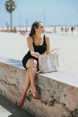 hashtagfablife blogger dress shoes jewels sandals louis vuitton bag black dress summer outfits