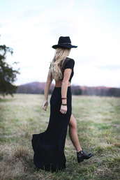 happily grey,blogger,jewels,hat,ankle boots,boho,black dress