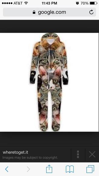 pajamas cat onsie swag cool