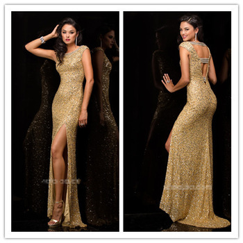 Aliexpress.com : Buy Gorgeous Bateau Neck Open Back Long Mermaid Pageant Prom Dresses 2014 Sleeveless Side Slit Crystals Sequined Vestidos De Festa from Reliable crystal corset wedding dress suppliers on Suzhou Babyonlinedress Co.,Ltd