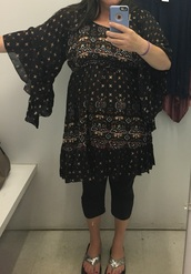 dress,black and gold sheer flare sleeves stretchy