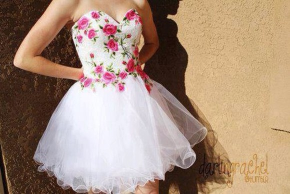 dress tutu pink floral cute spring white dress prom dress short prom dress flower dress