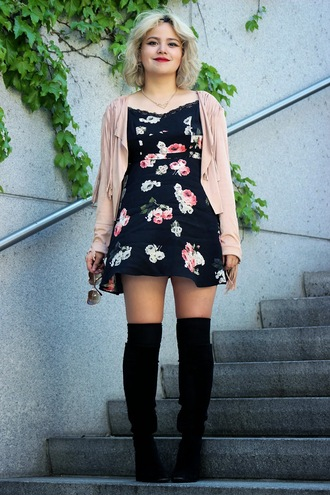 broke hell blogger black boots floral dress mini dress pink jacket