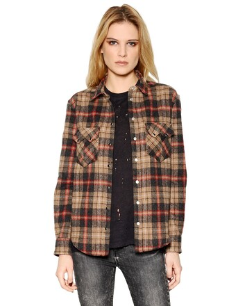 shirt plaid cotton wool brown top