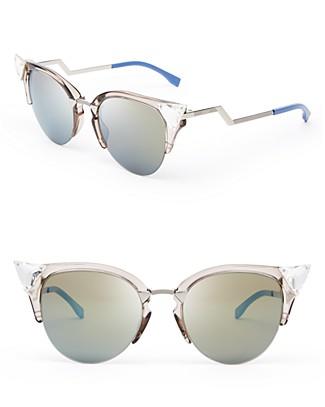 Fendi Crystal Embellished Mirrored Cat Eye Sunglasses | Bloomingdale's