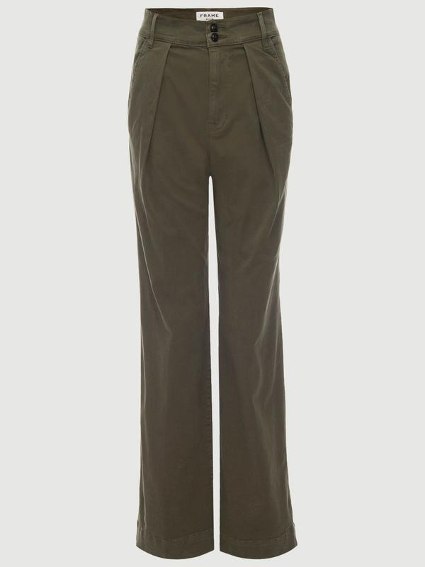 Wide Straight Trouser -- Army Green
