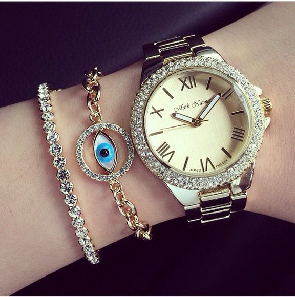 jewels glitter watch bracelets hour beutiful perfect combination