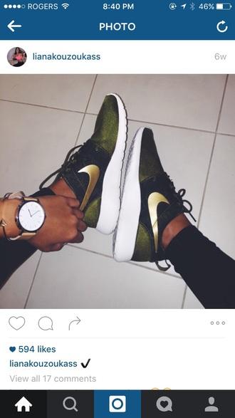 shoes nike khaki green gold sneakers
