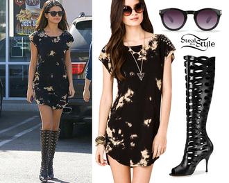dress mini dress black little black dress selena gomez sunglasses blouse