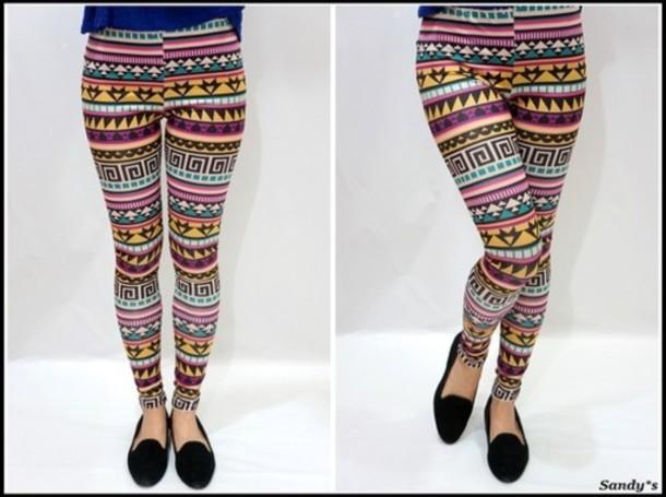 Pants: tribal pattern, leggings