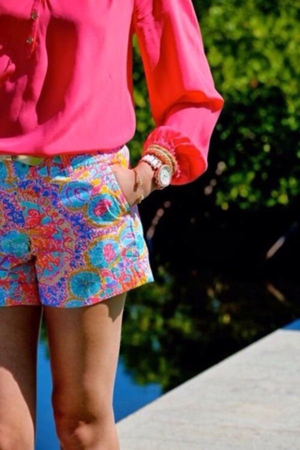 shorts pink blue orange purple preppy nautical