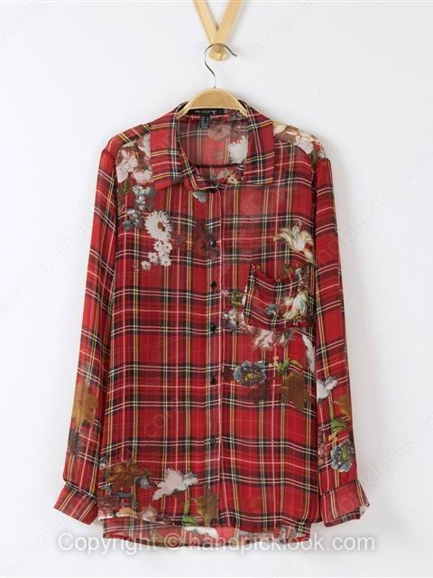 Red Lapel Long Sleeve Plaid Flower Print Blouse - HandpickLook.com