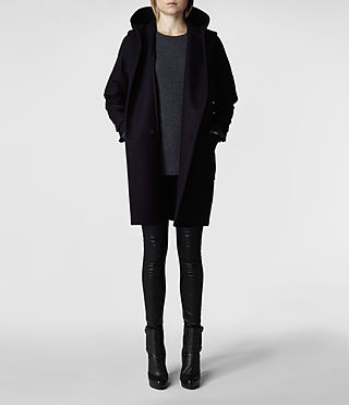 Womens Hooded Klein Duffle Coat (Ink) | ALLSAINTS.com