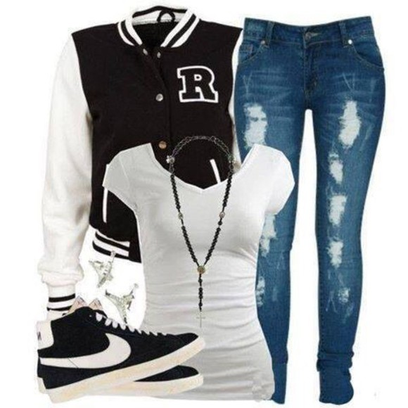 jeans jacket shoes top