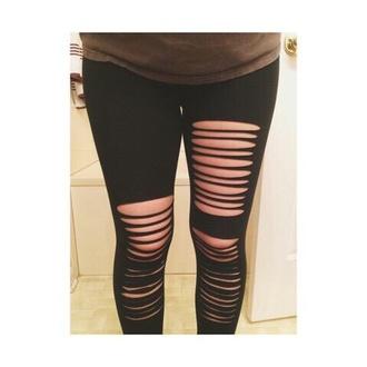leggings black ripped leggings