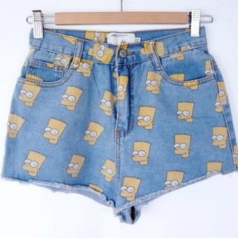 Bart Simpson high waisted light blue denim shorts