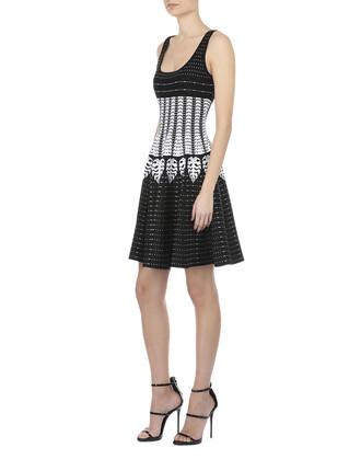 dress geometric pattern white grey