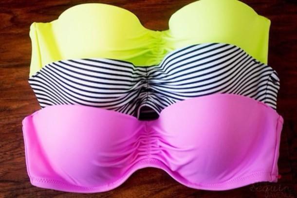 swimwear yellow stripes pink bikini top