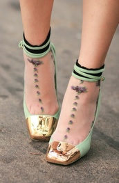 shoes,socks and heels,mint,gold,socks