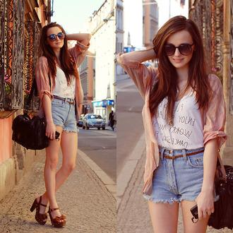 shorts girl short sunglasses cute shirt t-shirt shoes chunky heels cut off shorts light pink brown sunglasses cardigan bag
