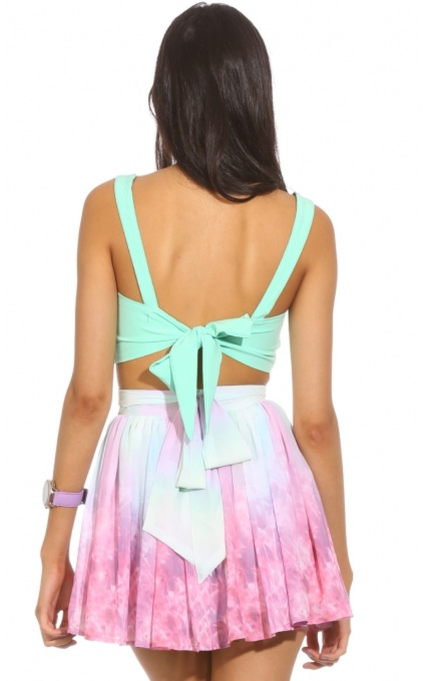 skirt die dye top circle pink blue white lovely vintage girly fantastic