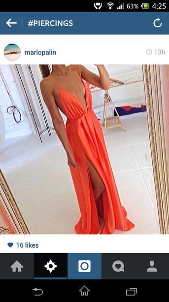 dress orange maxi dress plunge neckline backless dress