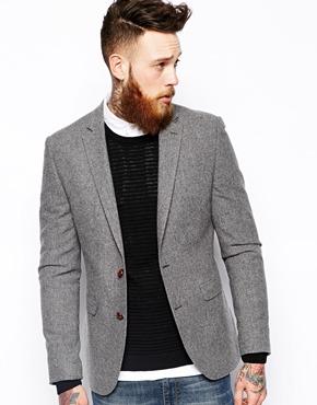 ASOS Slim Fit Blazer In Tweed at ASOS