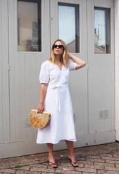 bag,dress,white dress,cult gia bag,sunglasses,shoes