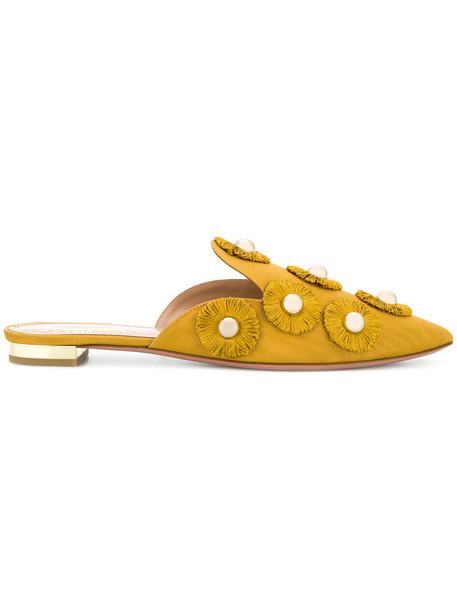 Aquazzura women embellished sunflower mules leather shoes