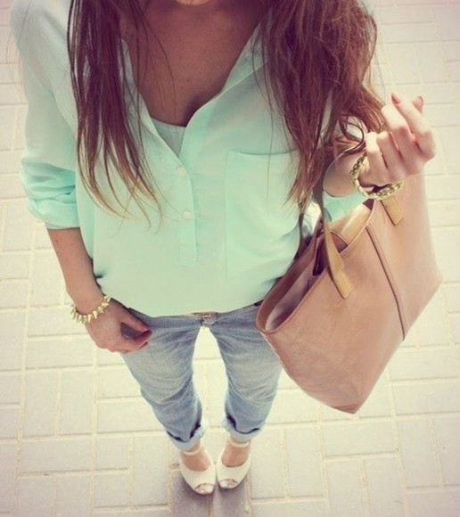 green blouse shirt bag pants boyfriend jeans jeans fashion cute cute platforms