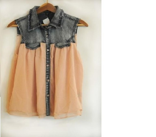 shirt half and half summer shirt sheer shirt sleeveless denim vest