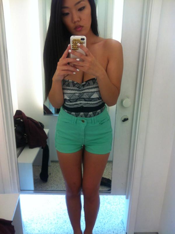 Shorts: mint, high waisted shorts, green, shirt, high waisted ...