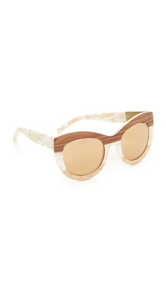 wood pearl sunglasses cream bronze