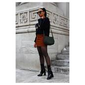 bag,eco friendly,green bag,shoulder bag,sweater,black sweater,skirt,mini skirt,rust,tights,boots,black boots,patent boots,patent shoes,high heels boots,sock boots,sunglasses,fall outfits