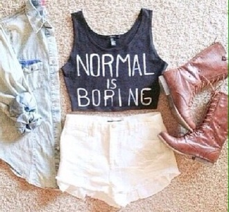 tank top normal is boring white shorts high waistd cute outfits cute top cute boots brown boots light-wash denim jacket