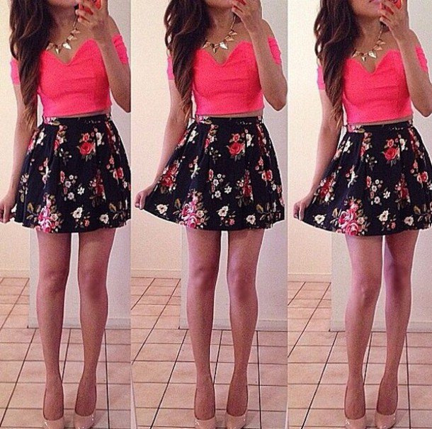 Shirt Pink Top Cute Fashion Material Bright Crop Tops Skirt Jewels Crystal Outfit ...