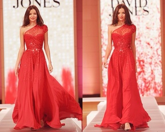 miranda kerr prom long sparkle red dress