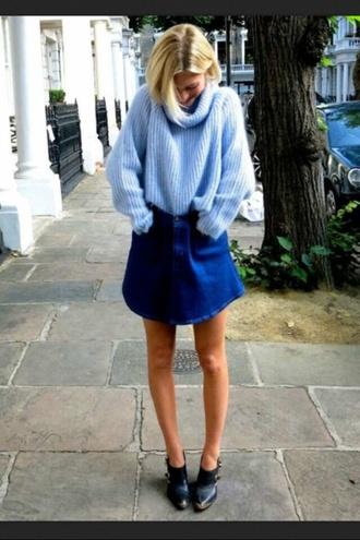 skirt sweater denim skirt vintange denim mini skirt shirt clothes turtleneck jumper knitted sweater knitwear heavy knit jumper cardigan winter sweater american apparel blue wool winter outfits cold cozy blue coat oversized turtleneck sweater