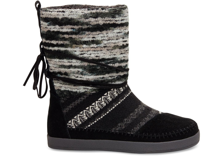 black nepal boots aus veloursleder und textil f r damen toms. Black Bedroom Furniture Sets. Home Design Ideas