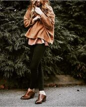 sweater,tumblr,jeans,black jeans,skinny jeans,mules,mid heel pumps,brown shoes,camel sweater,camel,fall outfits,fall colors