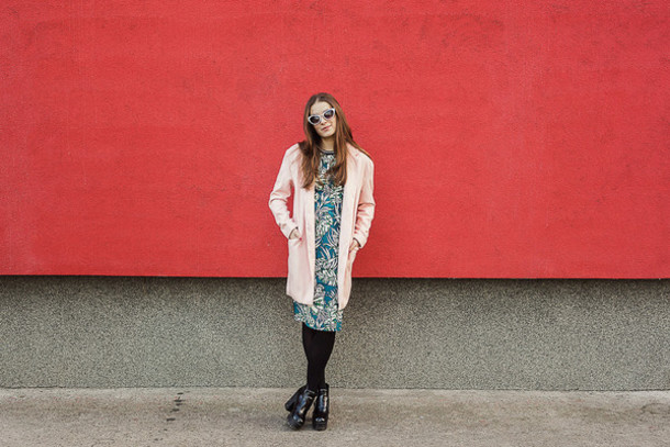 iemmafashion blogger dress tropical pink coat